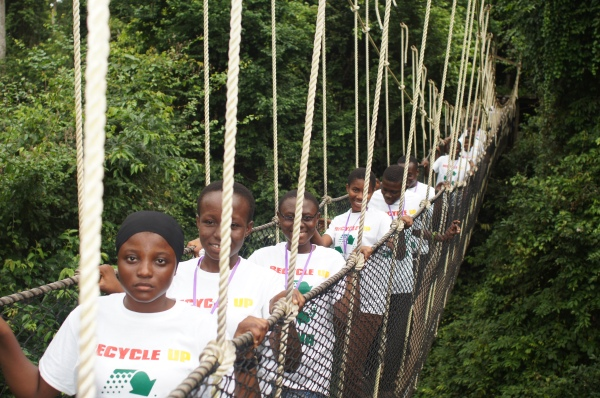 Some Participants on the Canopy Walk Way at Kakum National Park.
